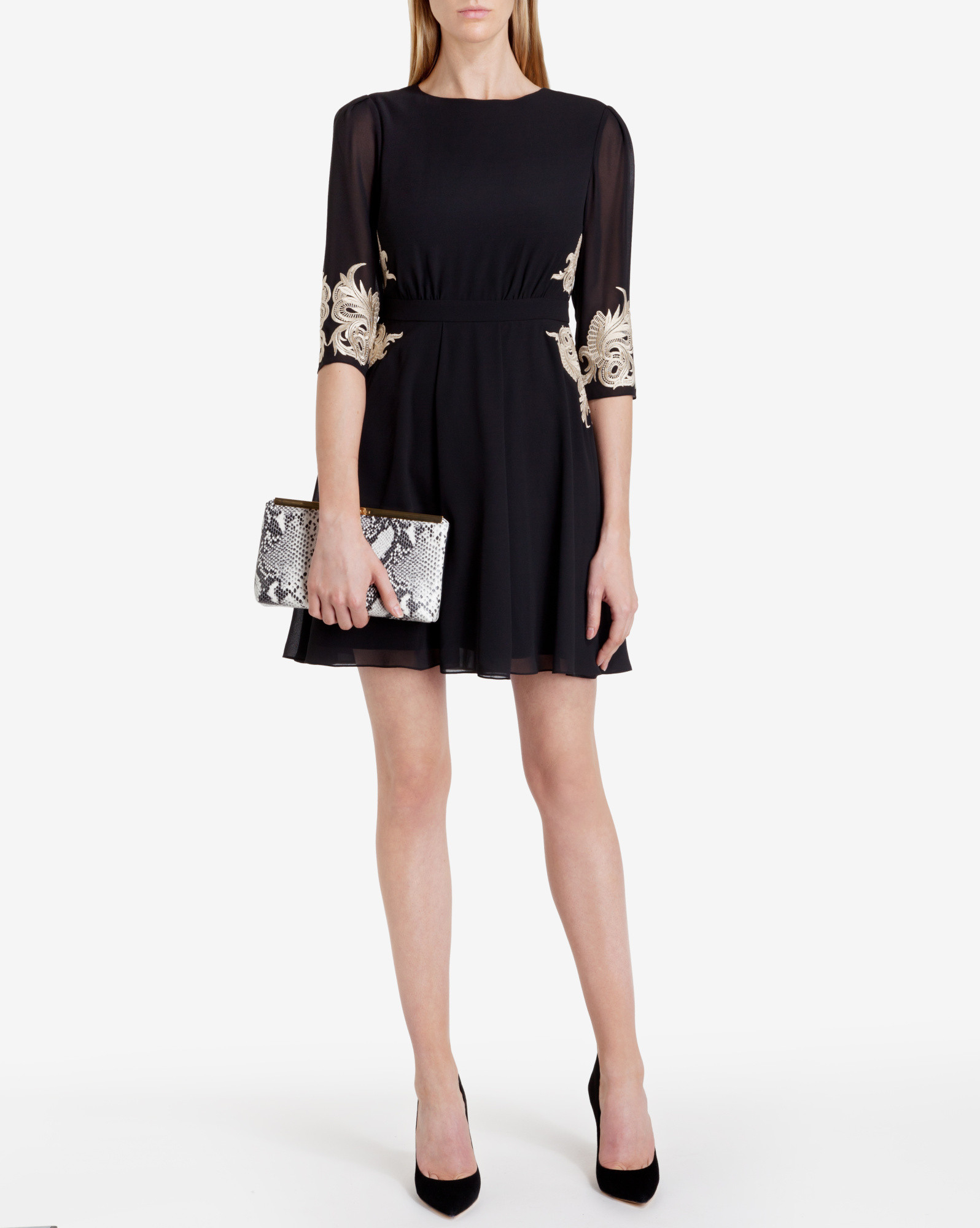 d6667d1f7c913a Lyst - Ted Baker Embroidered Dress in Black