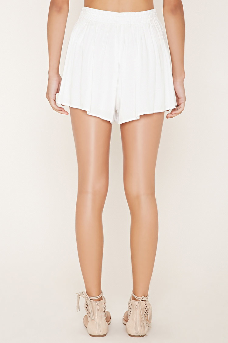 Forever 21 Drawstring High-waisted Shorts in White | Lyst