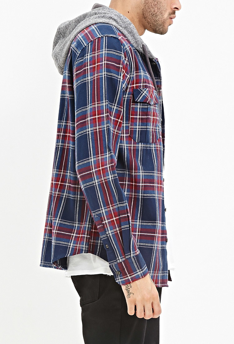 Lyst Forever 21 Hooded Plaid Flannel Shirt You Ve Been