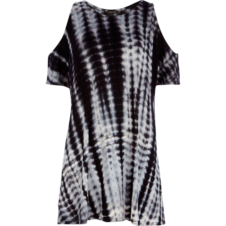 river island black tie dye cold shoulder swing dress in white black lyst. Black Bedroom Furniture Sets. Home Design Ideas