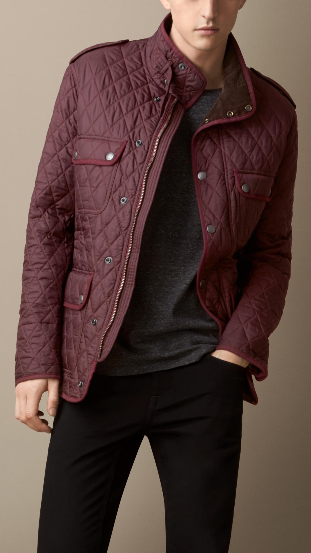 Mens Black Diamond Quilted Jacket