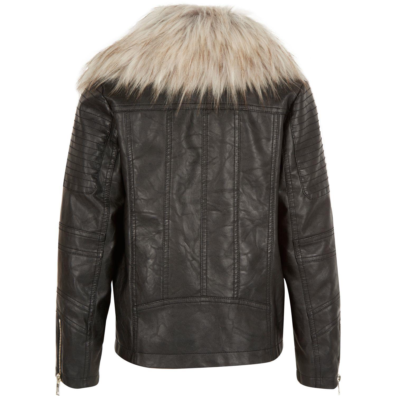 ef78a7ef1 River Island Girls Black Leather-look Faux Fur Trim Jacket in Black ...