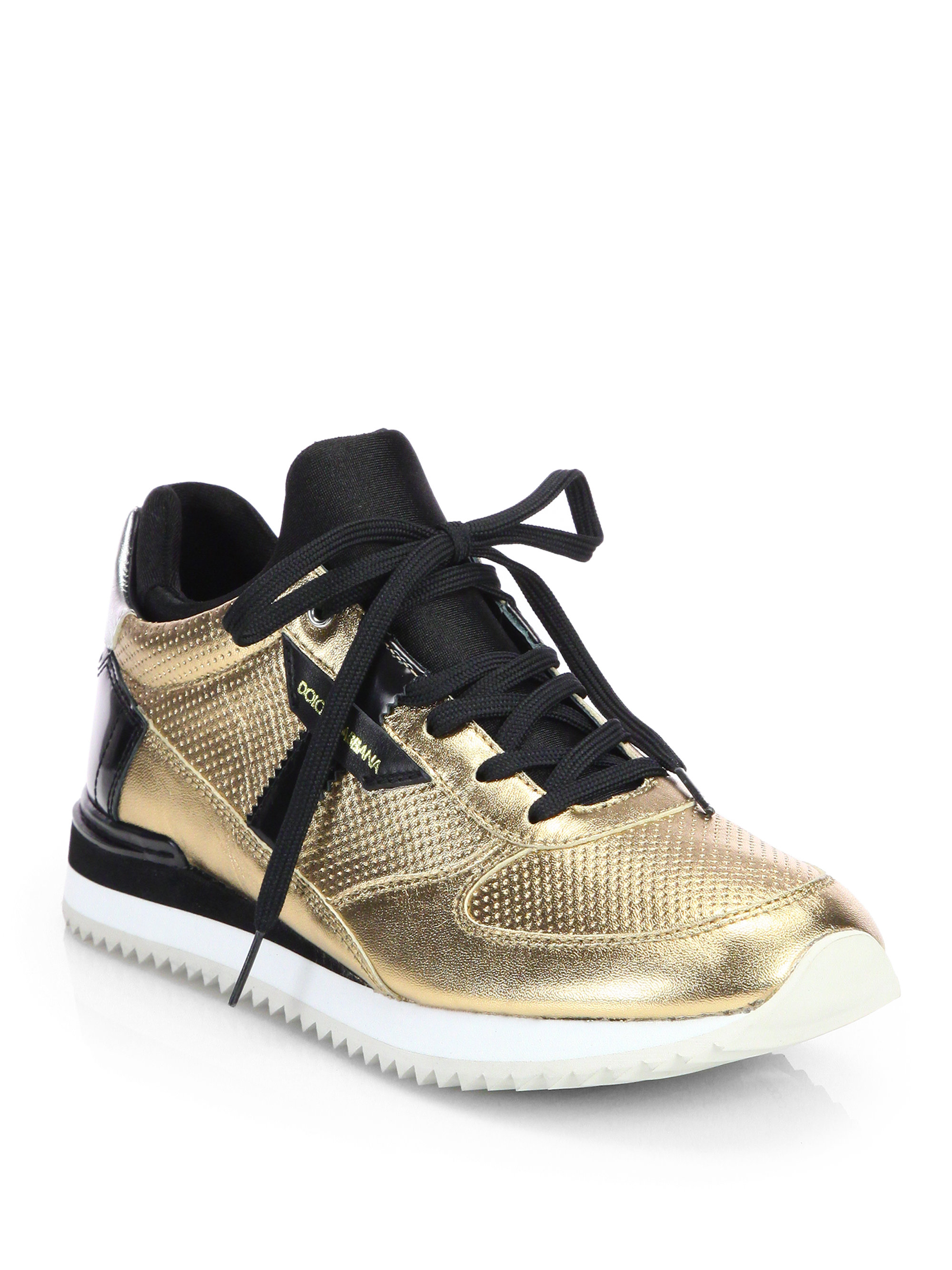 Lyst - Dolce   Gabbana Metallic   Patent Leather Lace-Up Sneakers in ... 41dc74b8eb