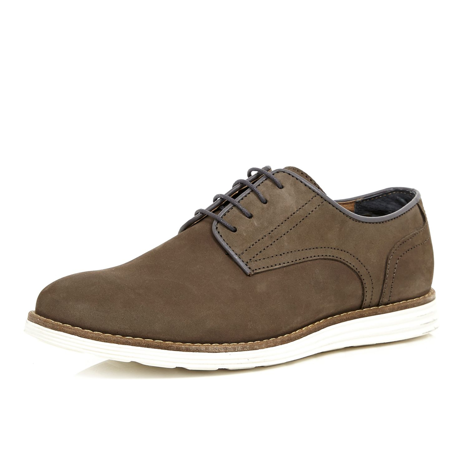 river island brown leather contrast wedge sole shoes