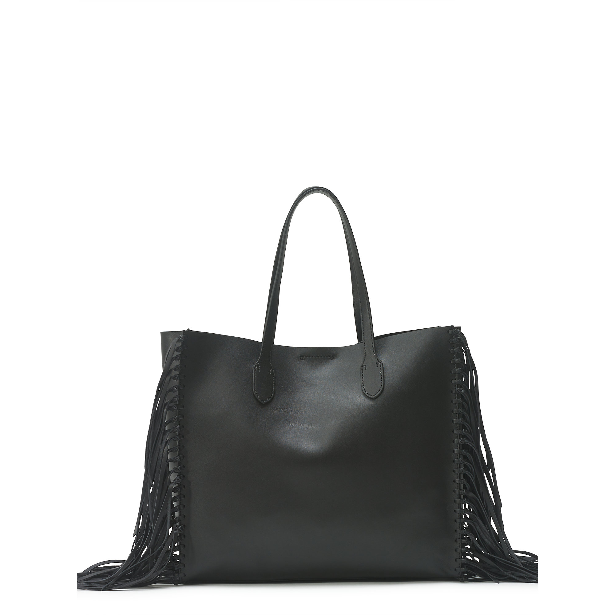 6054d1692b0c Lyst - Polo Ralph Lauren Fringed Leather Tote in Black