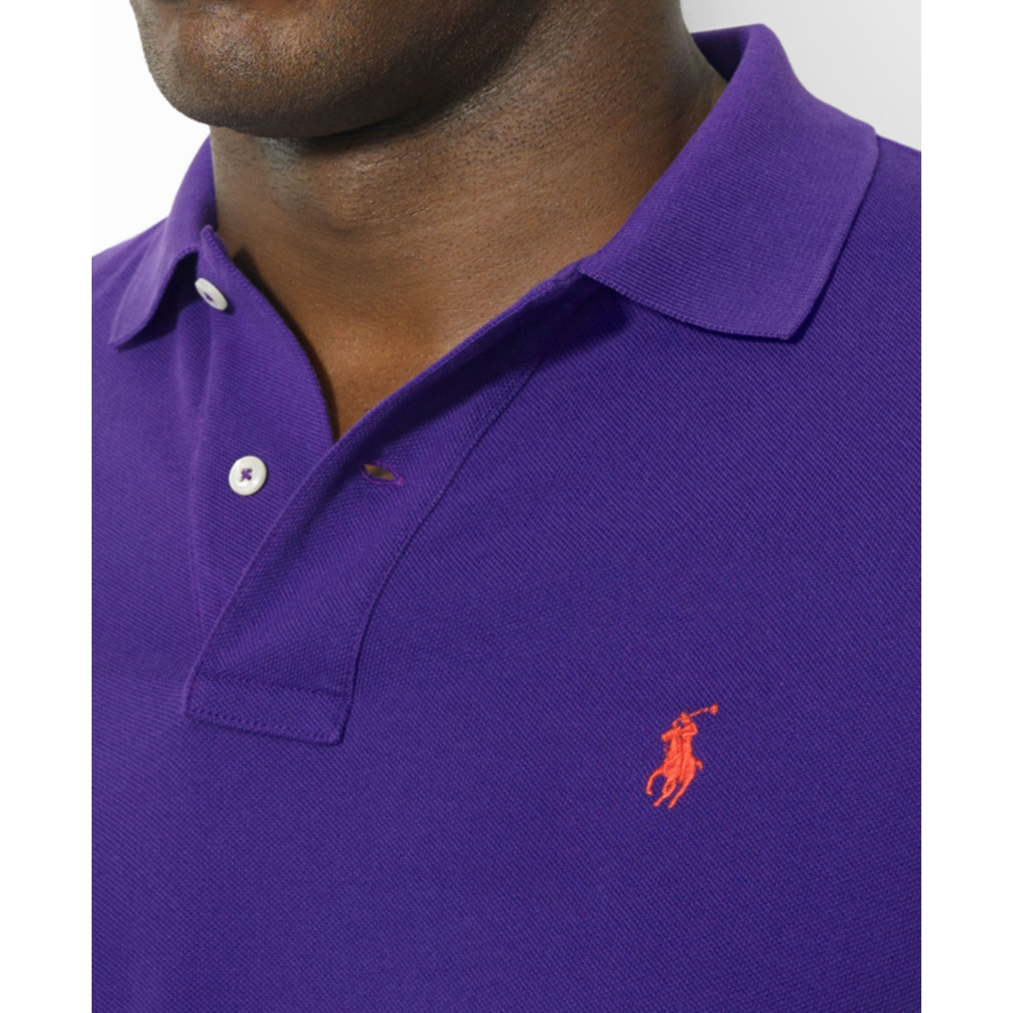 Polo ralph lauren Classic-Fit Short-Sleeve Cotton Mesh Polo in Purple for Men