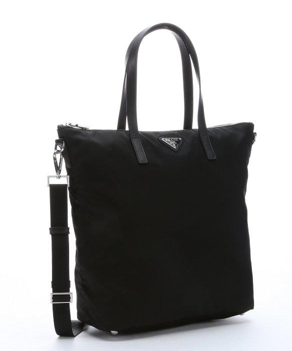 ae9ea03164bd ... sale lyst prada black gabardine nylon convertible shopper tote in black  599b7 e066f