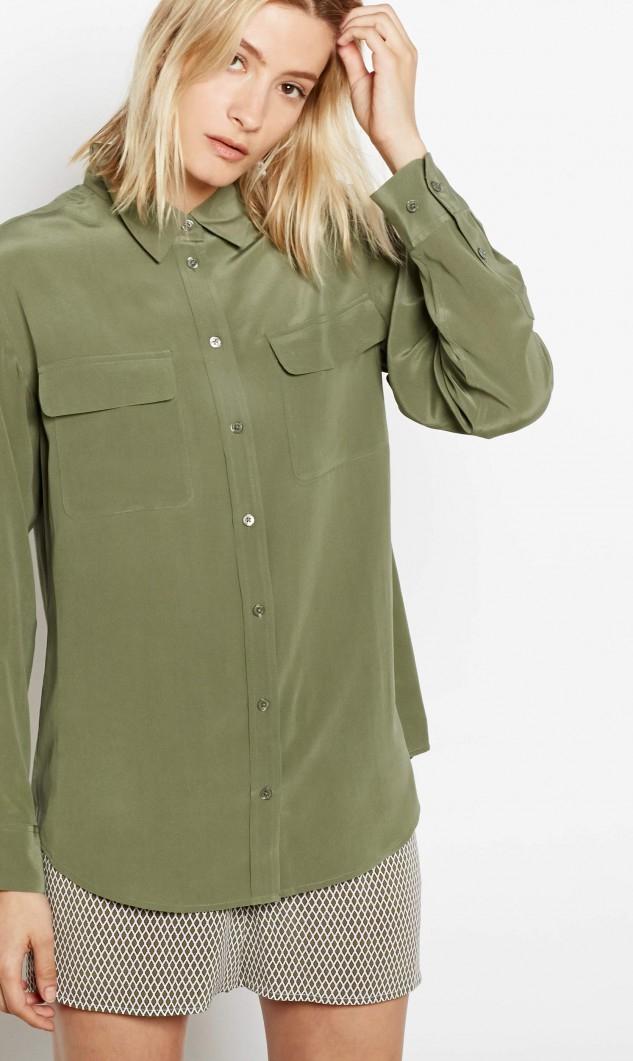 Lyst equipment signature silk shirt in green for Equipment signature silk shirt