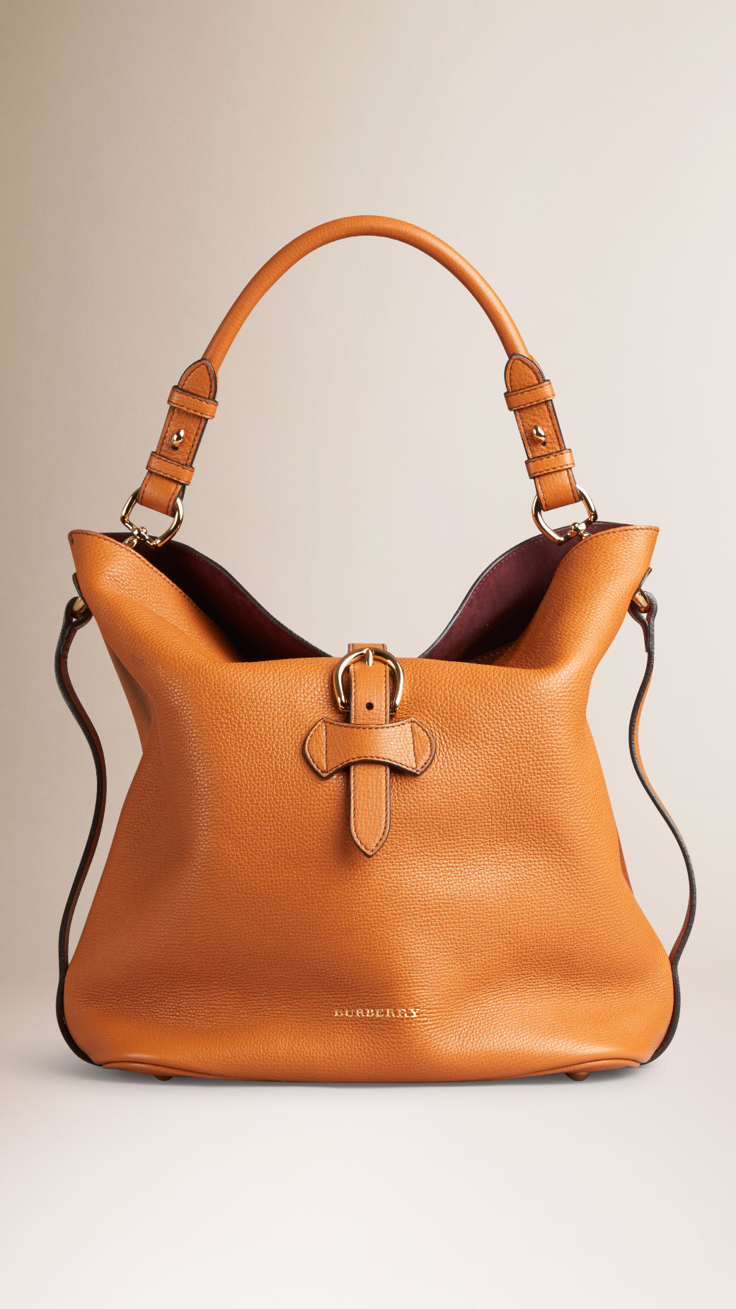 c580f24e881a Lyst - Burberry Medium Buckle Detail Leather Hobo Bag in Brown