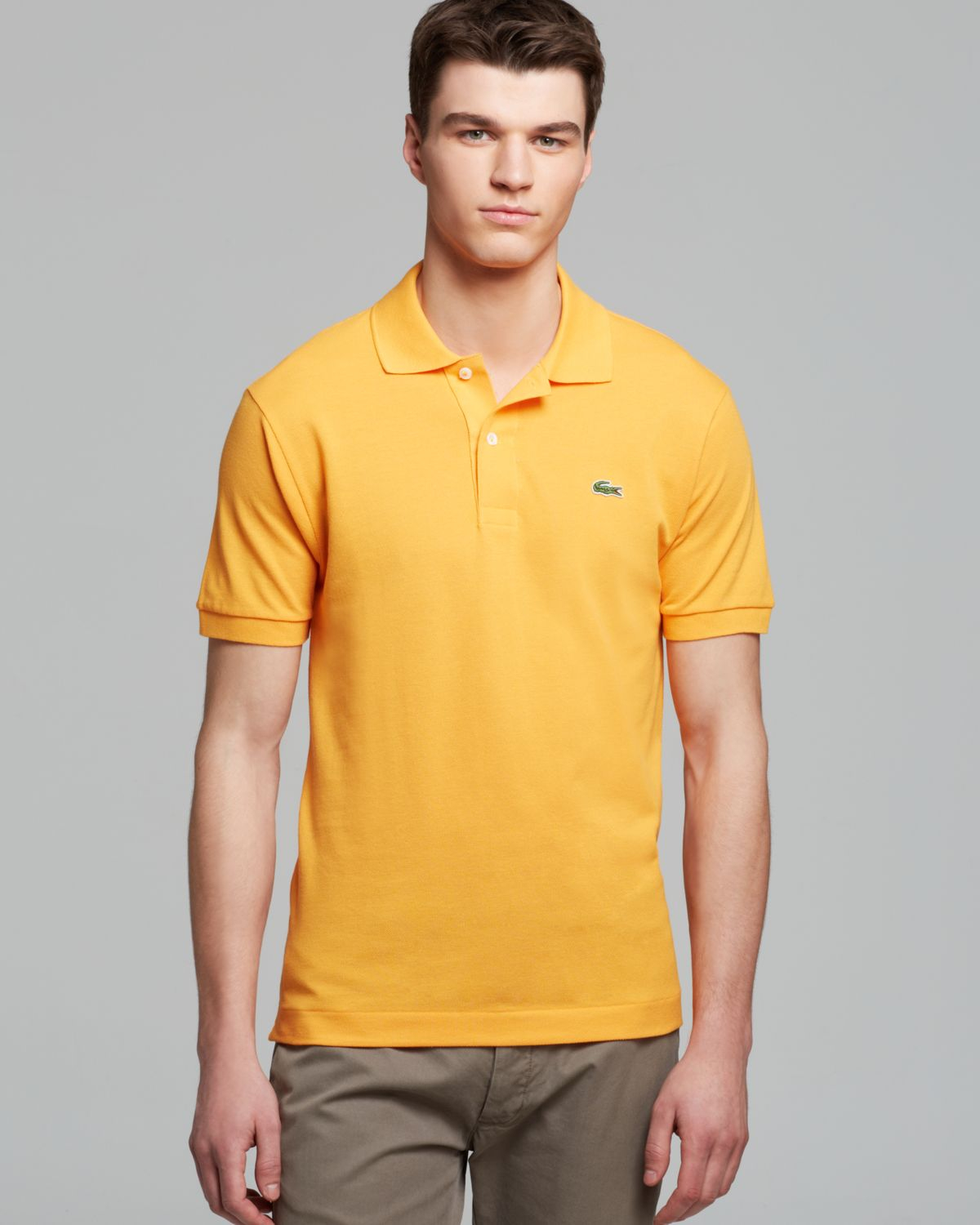 Lacoste Classic Short Sleeve Pique Polo Shirt In Yellow