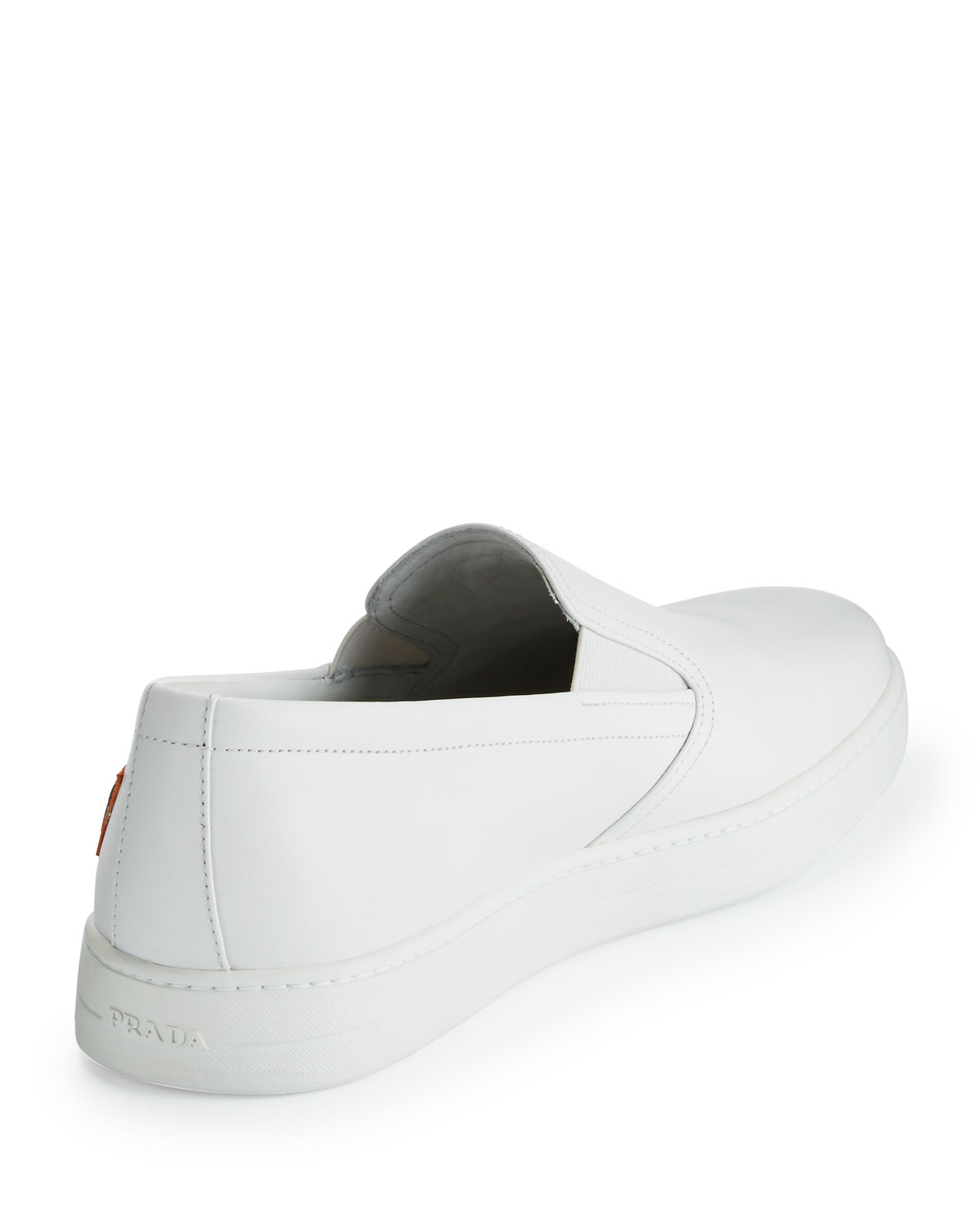 prada suede tote - Prada Lightning-Bolt Leather Slip-Ons in White for Men | Lyst