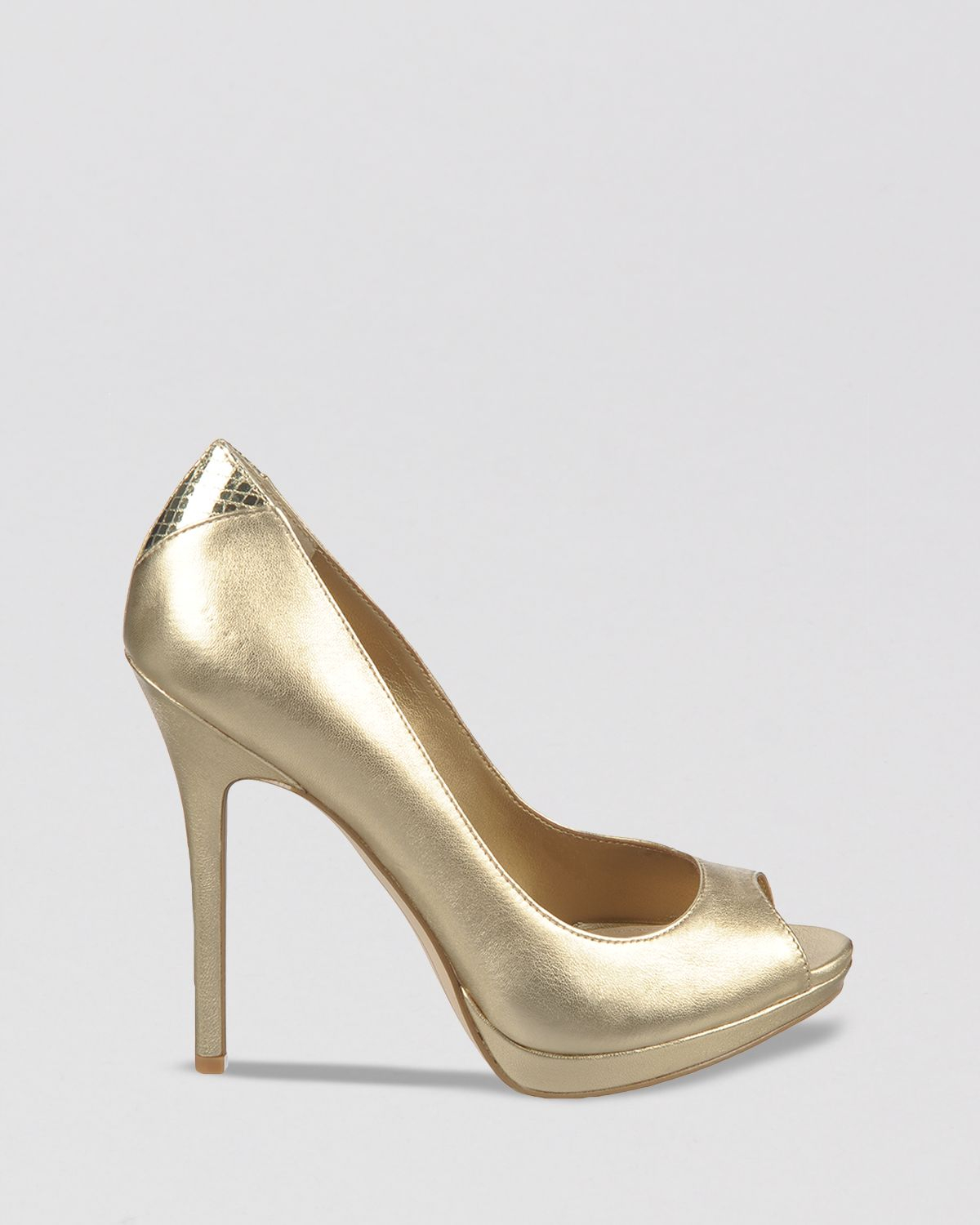 Sam edelman Peep Toe Platform Pumps Ella High Heel in Metallic  Lyst