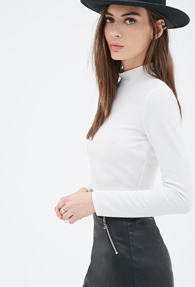 4ed2f4133e3a9 Lyst - Forever 21 Ribbed Knit Mock Neck Top in White