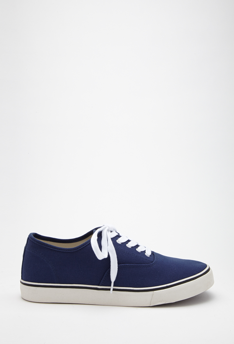 forever 21 classic canvas sneakers in blue for lyst