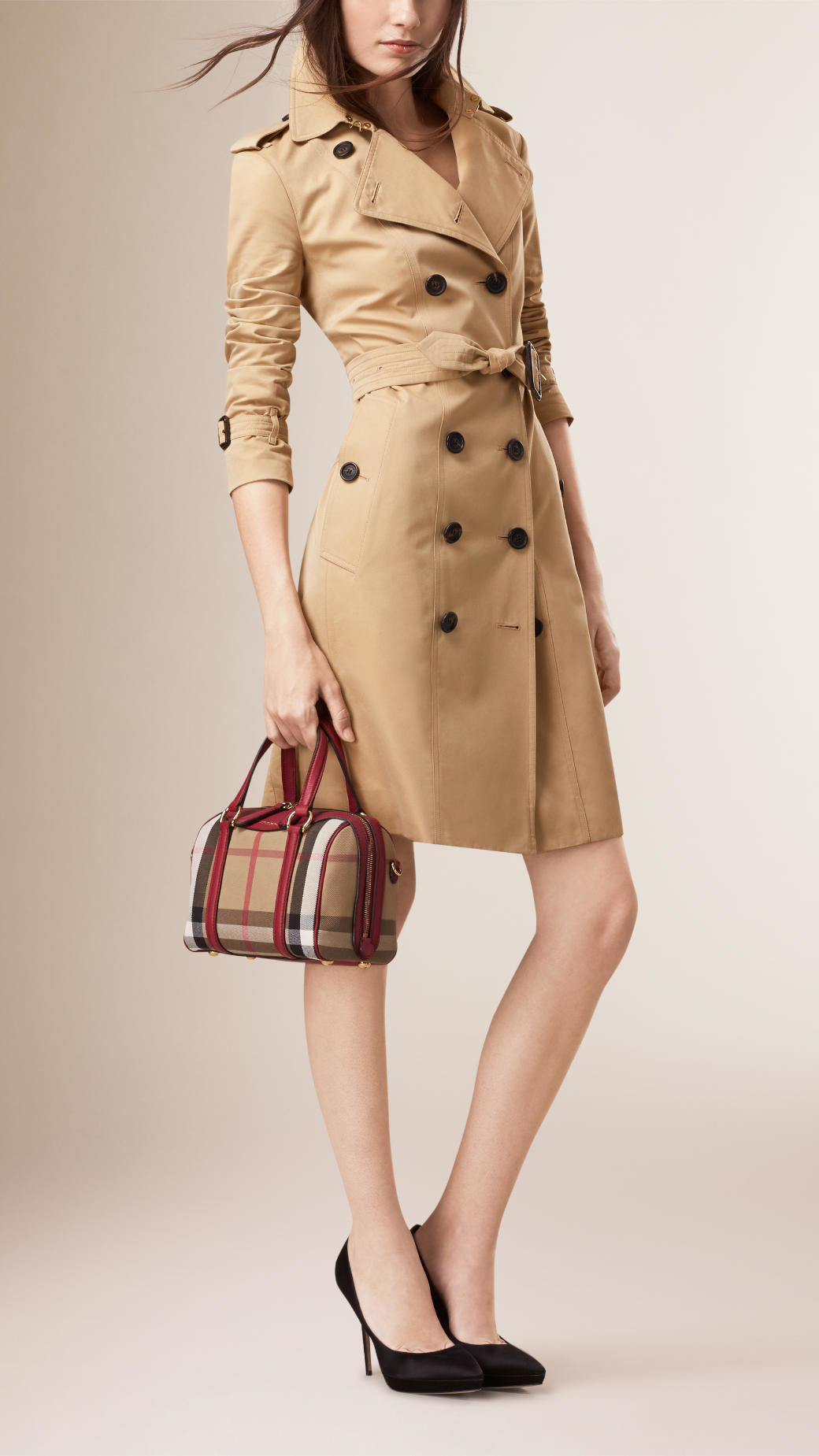 824191503bd4 Lyst - Burberry The Small Alchester House Check And Leather Bag in Red