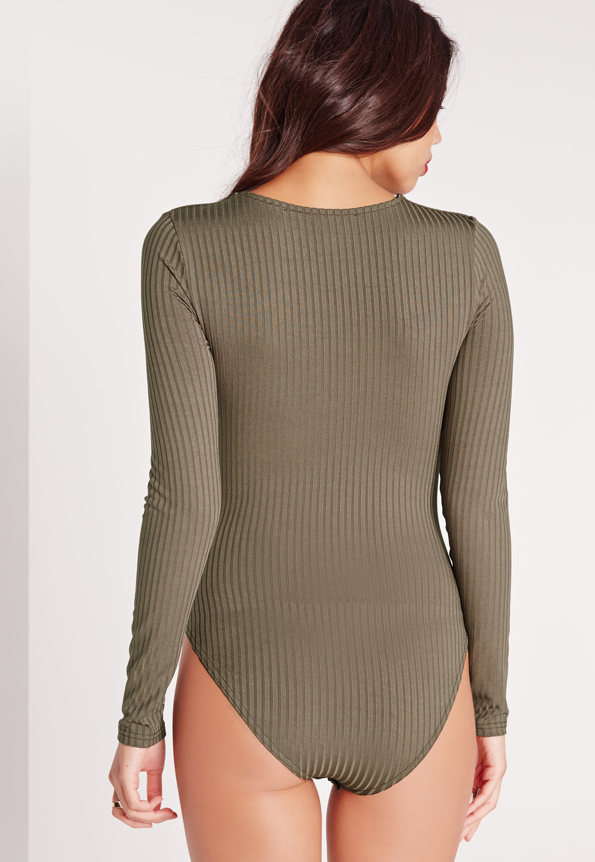 Lyst - Missguided Ribbed Lace Up Front Long Sleeve Bodysuit Khaki in ... 68045f365