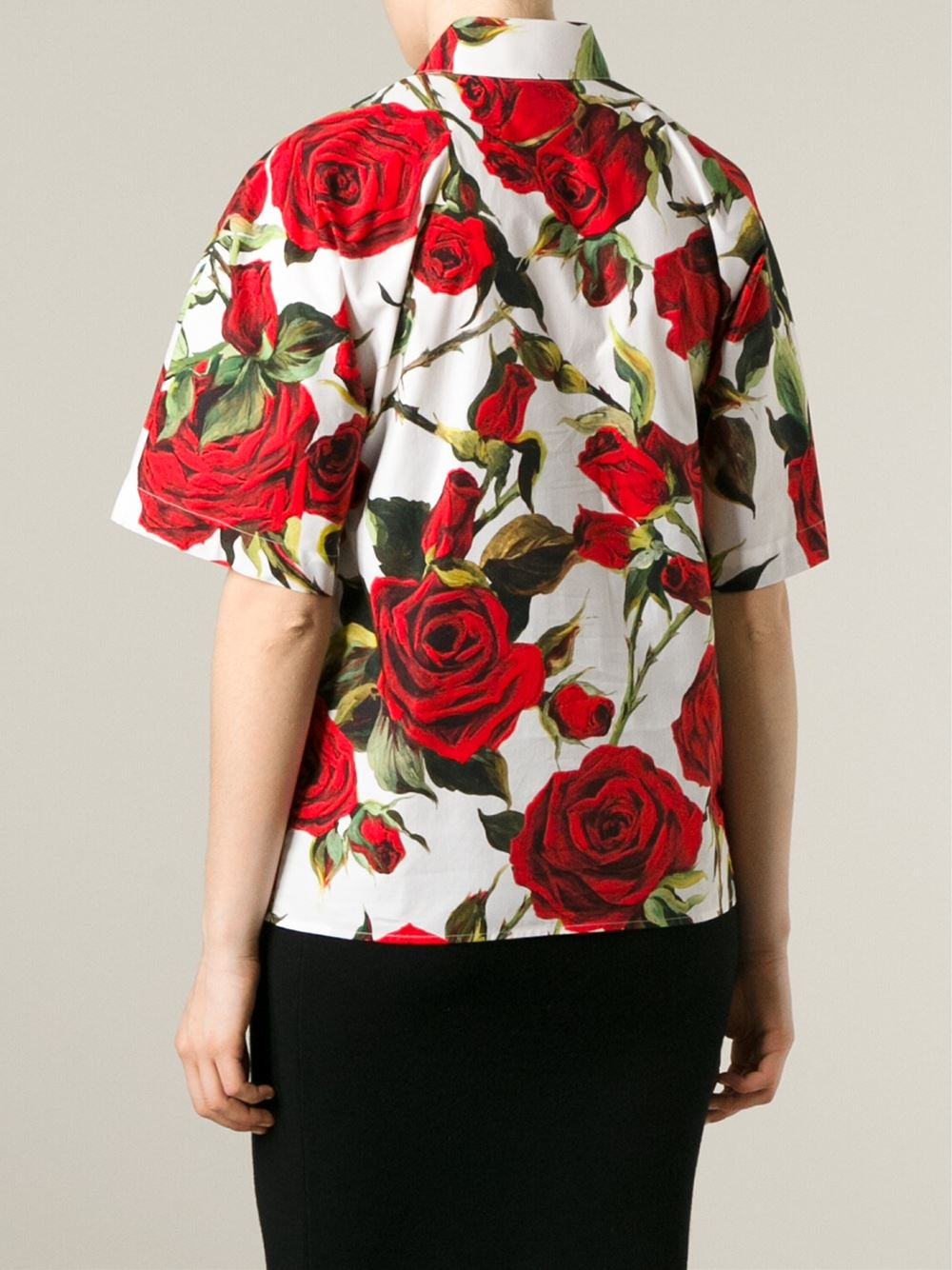 Dolce Amp Gabbana Rose Print Shirt In Red Lyst