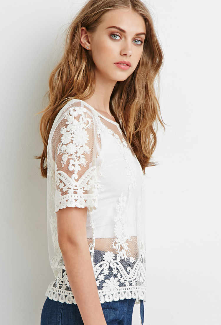 ceb6d8cfd9 Lyst - Forever 21 Sheer Floral-embroidered Top You ve Been Added To ...