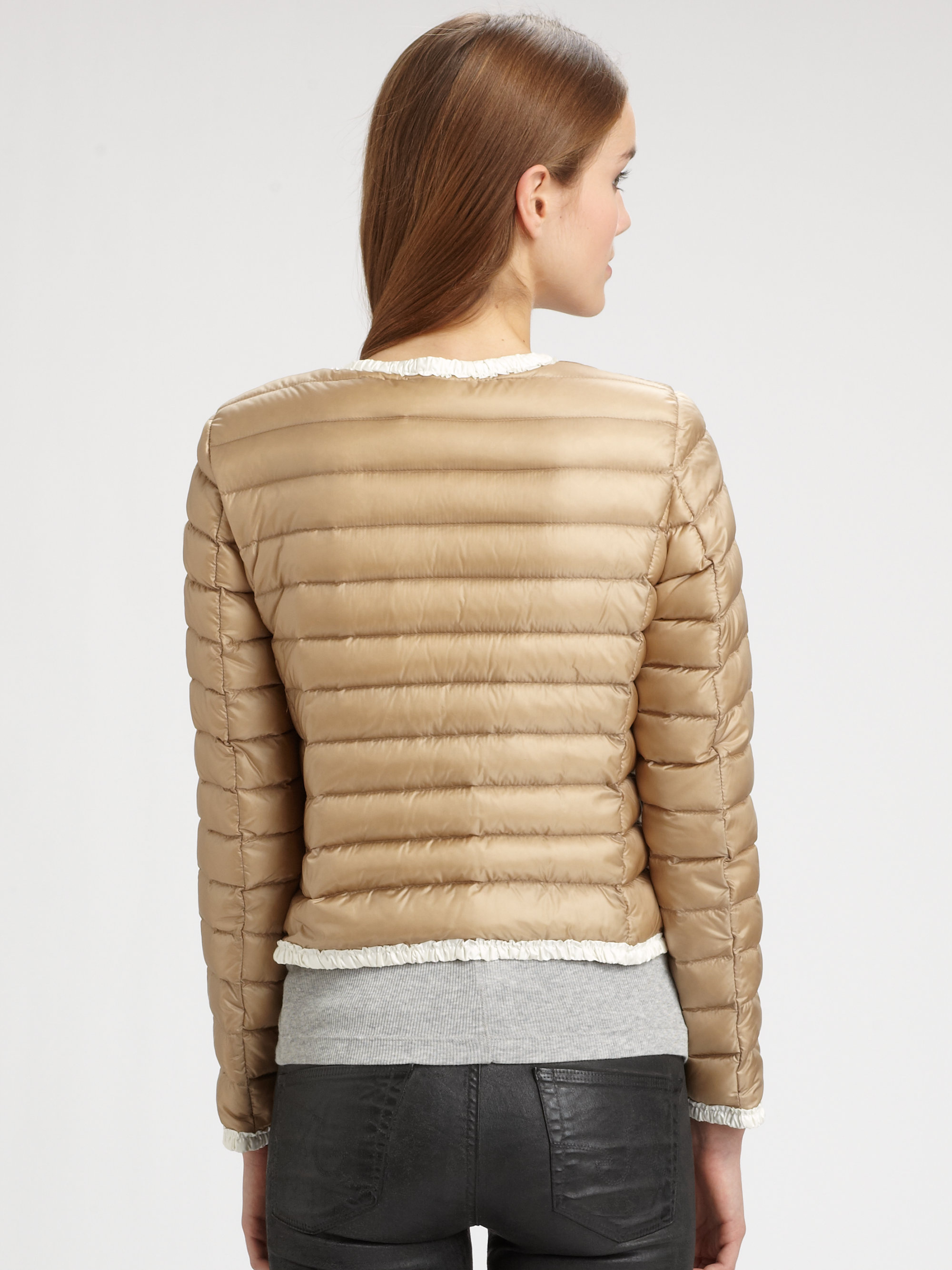 548fa7b1bc6 inexpensive lyst moncler flavienne longue season jacket in natural 187e7  b6a73