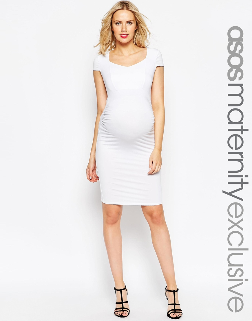 Asos maternity bodycon dress with sweetheart neck and capped gallery ombrellifo Choice Image