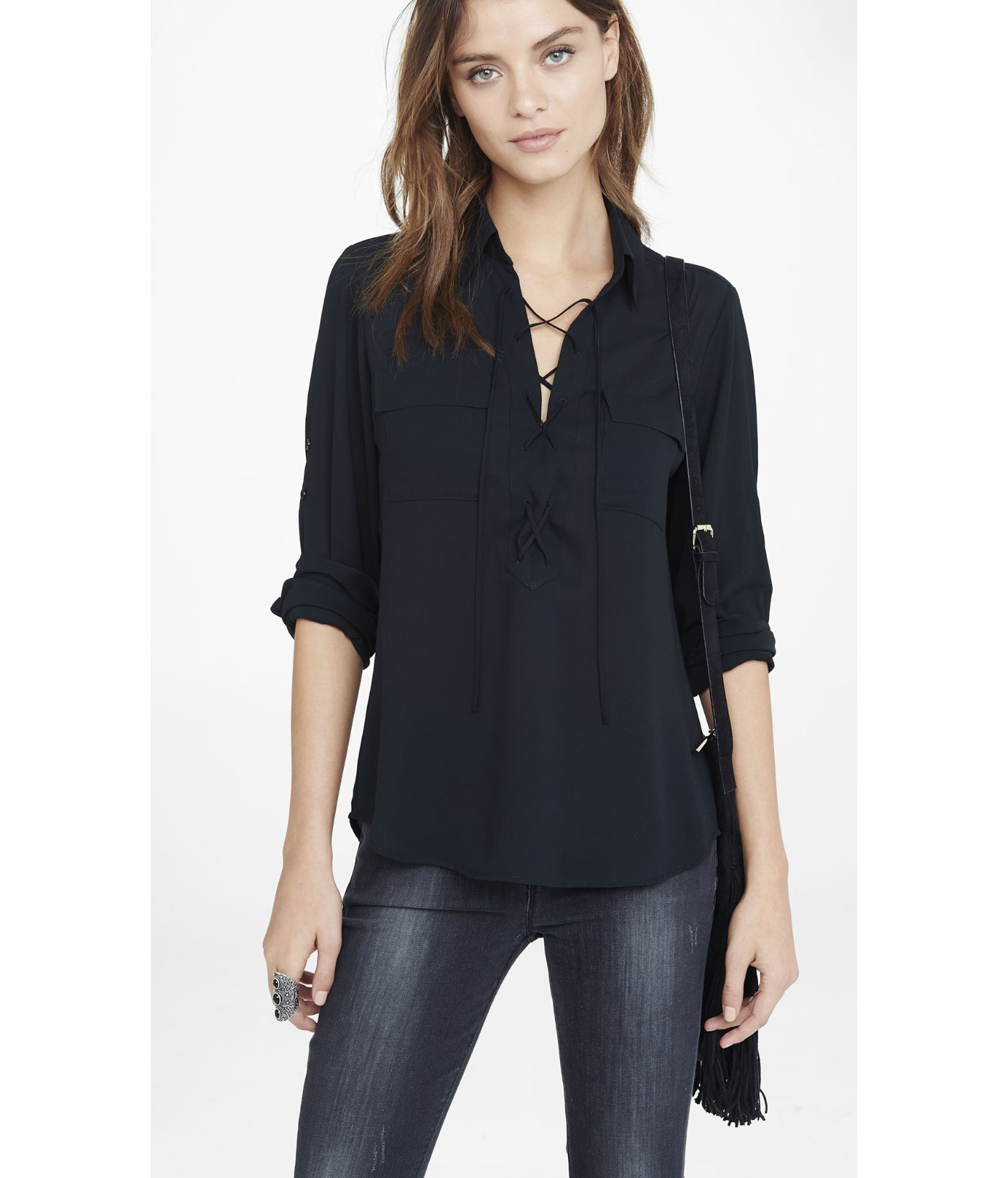 Express Lace Up Long Sleeve Blouse in Black | Lyst