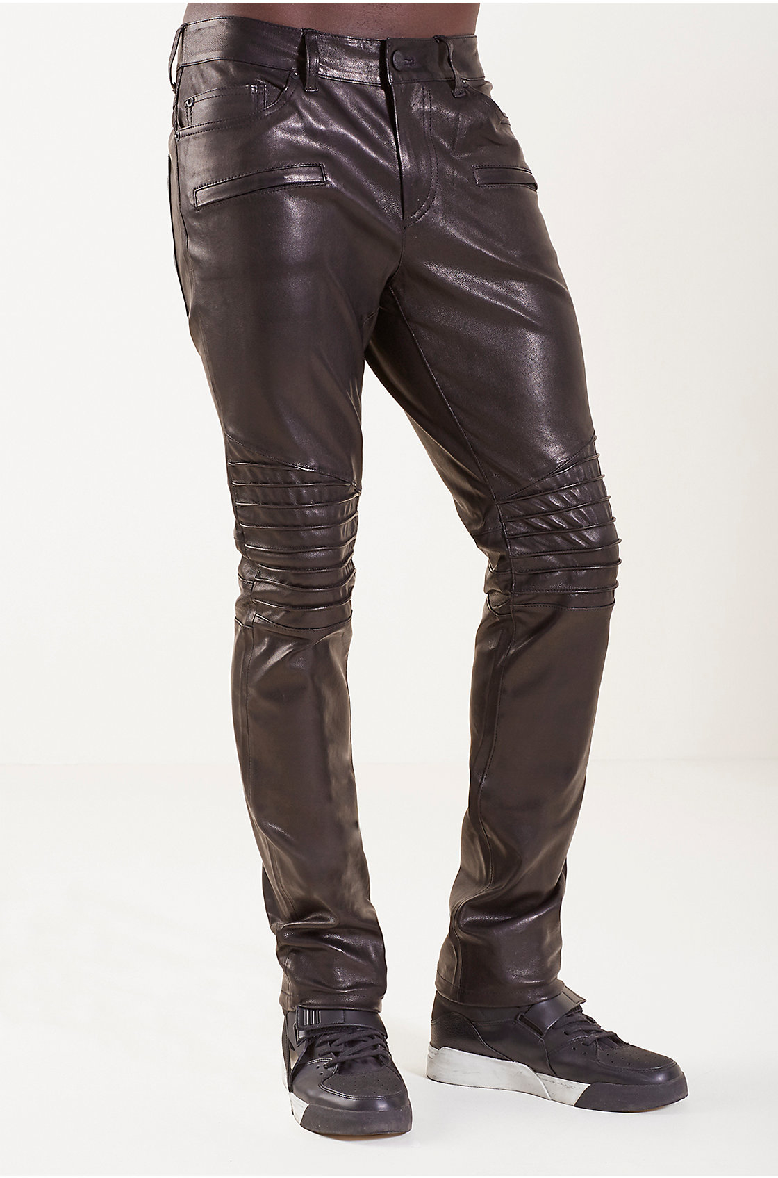 True Religion Biker Straight Leather Mens Pant In Black