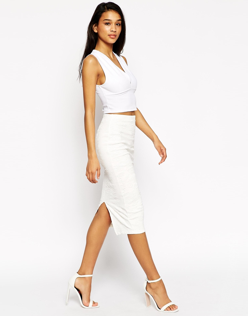 asos pencil skirt in debossed floral texture in white lyst