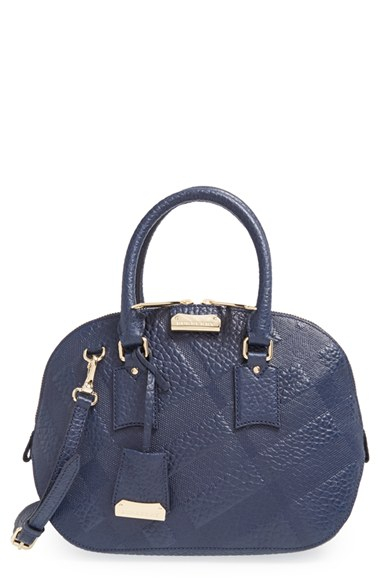 607464425b4 Lyst - Burberry  small Orchard  Check Embossed Leather Satchel ...