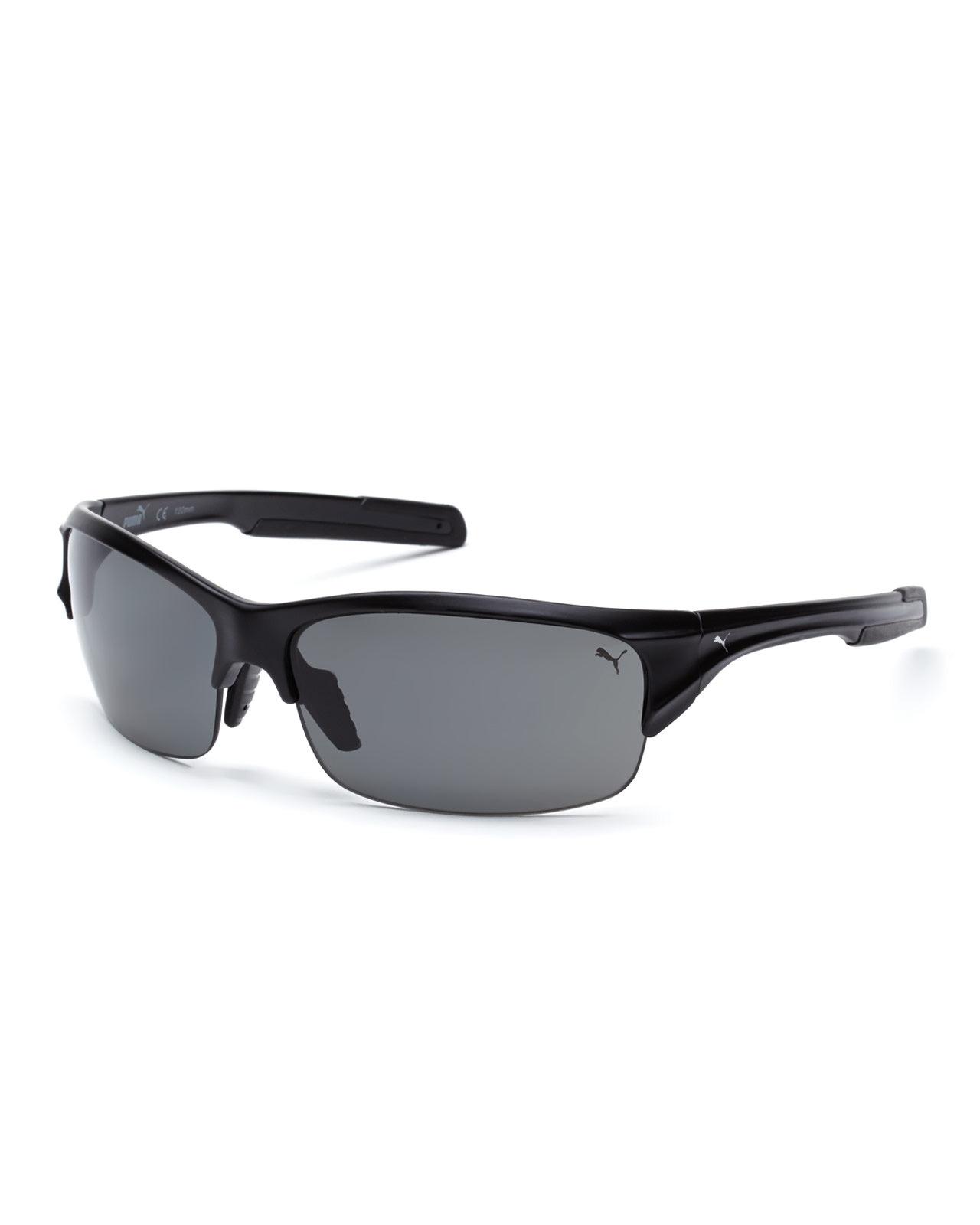 6ea226a082 Lyst - PUMA Pu14704P Black Half-Rim Sport Wrap Polarized Sunglasses ...