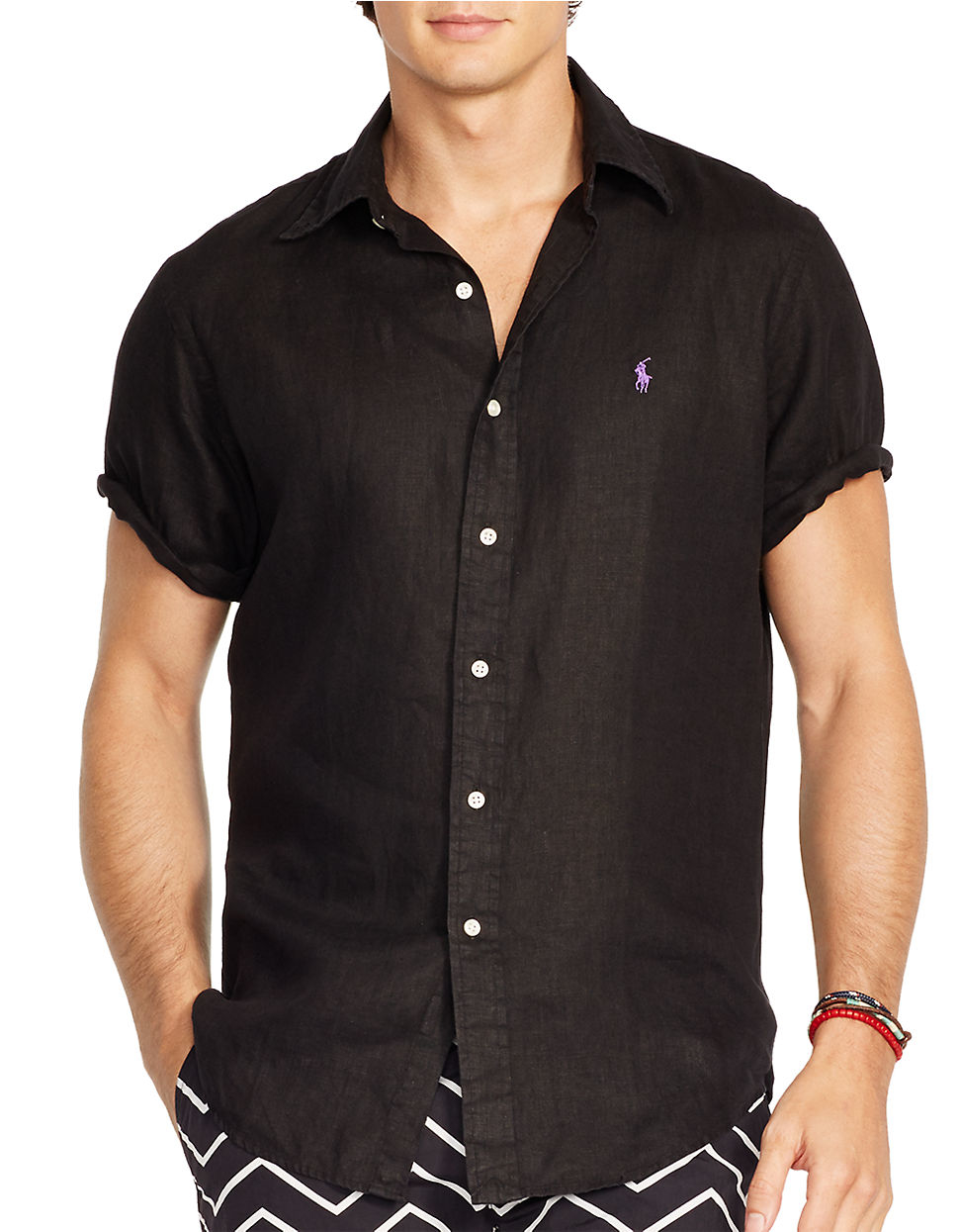 Polo ralph lauren Short-sleeved Linen Shirt in Black for ...