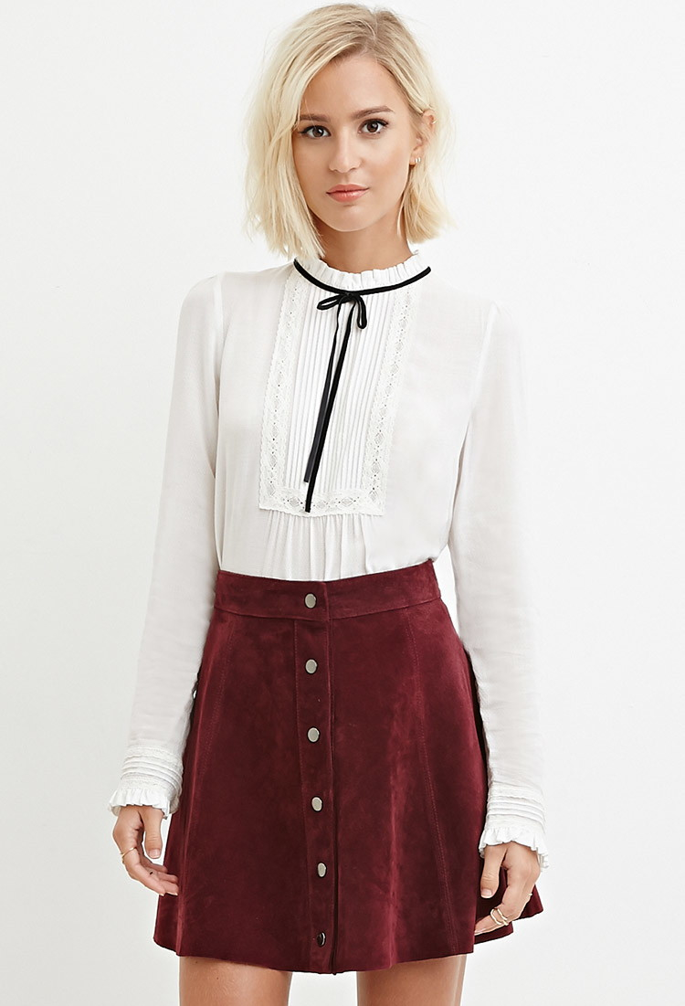 006ff3536d7 Forever 21 Pintucked Self-tie Blouse in White - Lyst