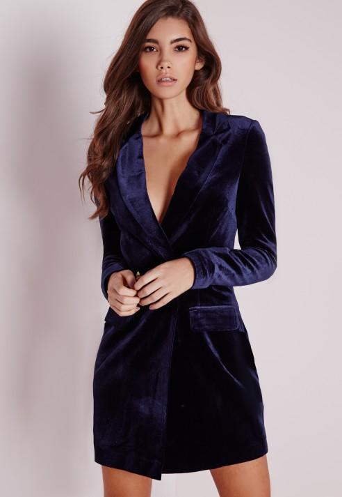 Missguided velvet blazer dress navy in blue lyst