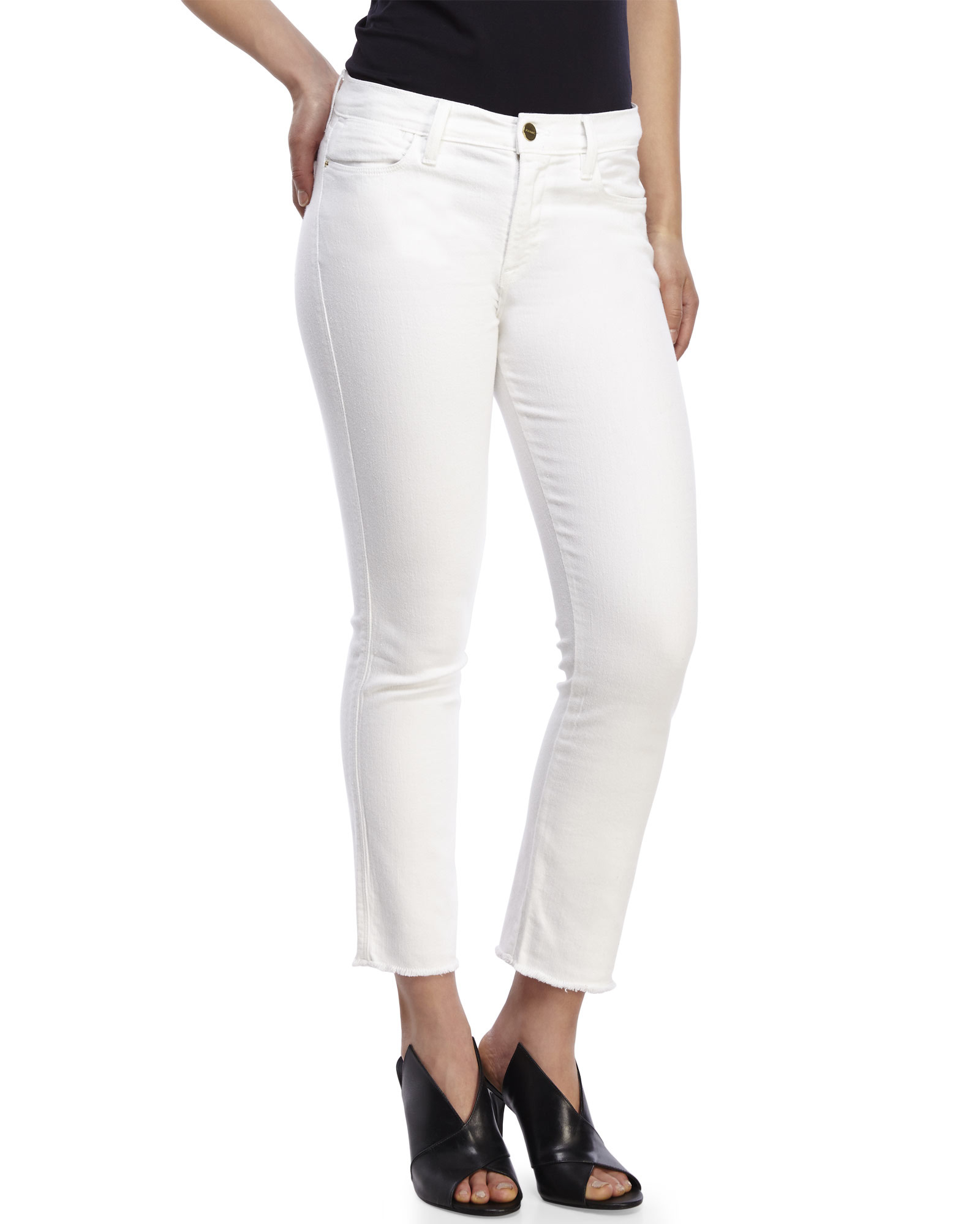 Frame Le High Straight Jeans in White | Lyst