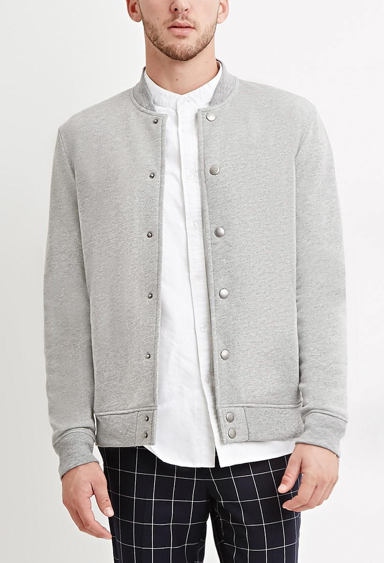 Forever 21 Heathered Baseball Jacket in Gray for Men | Lyst