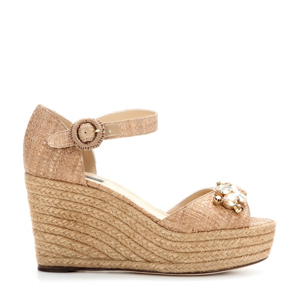 e40a449f8f5505 Dolce   Gabbana Bianca Crystalembellished Espadrille Wedge Sandals ...