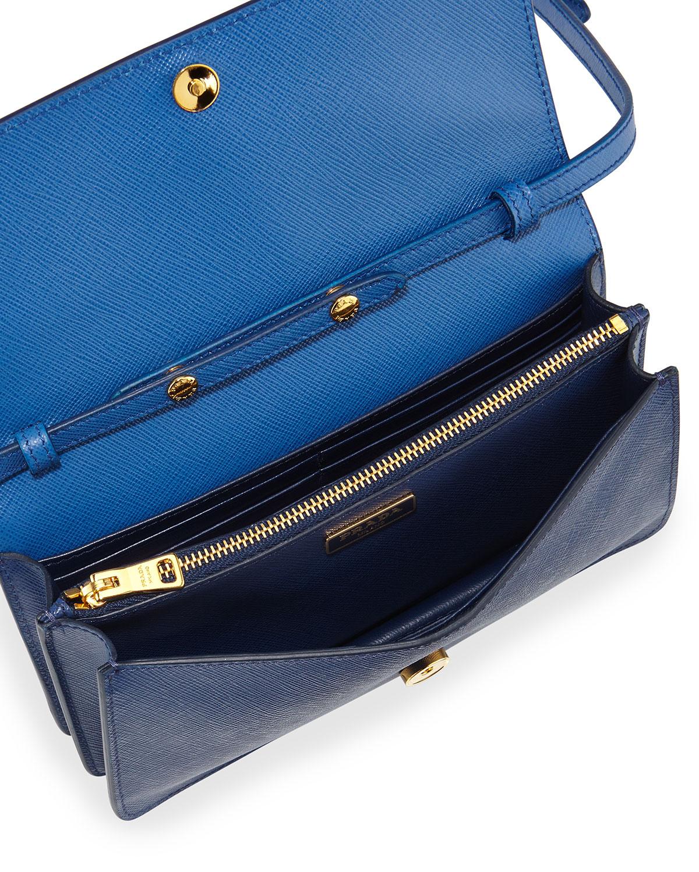 Prada Small Cobalt Blue Saffiano Leather Crossbody Orange