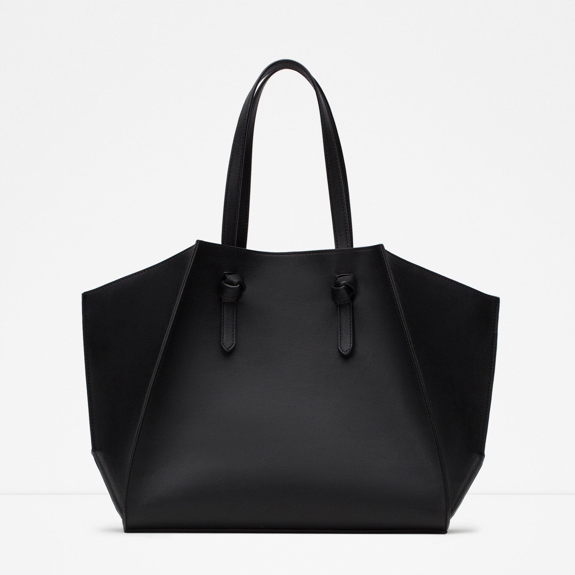 Zara Geometric Faux Leather Tote In Black Lyst