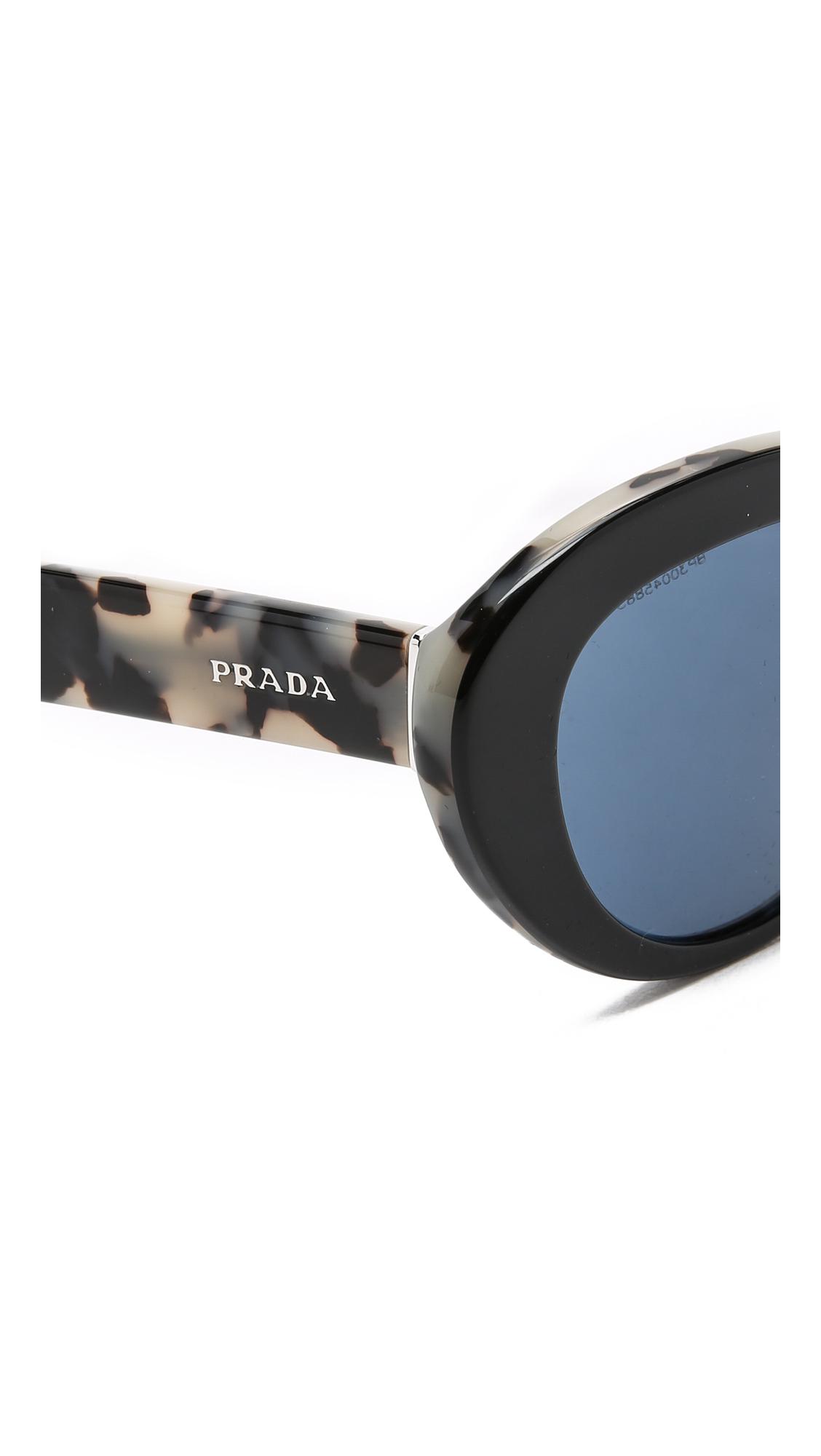 prada begs - Prada Oval Cat Sunglasses in Black (Black/White Havana/Blue) | Lyst