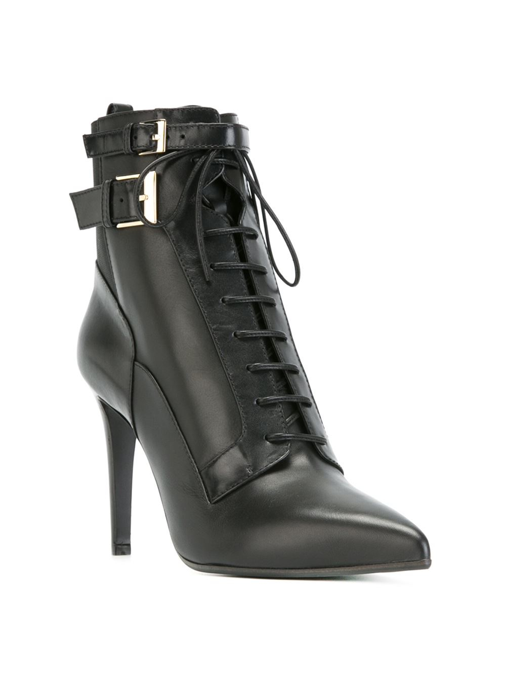 Black Lace Up High Heel Boots