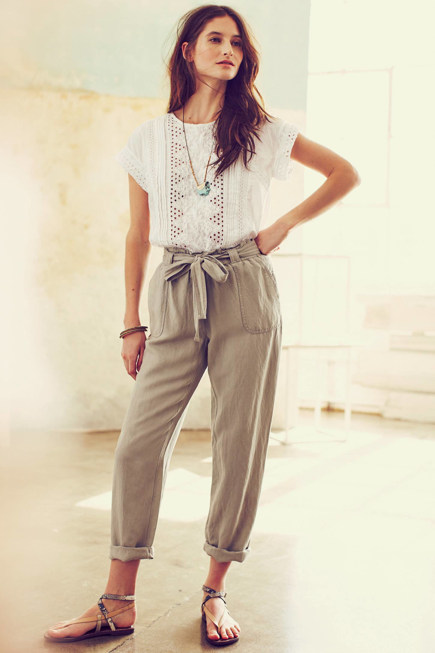 Cartonnier Linen Paperbag Trousers in Gray