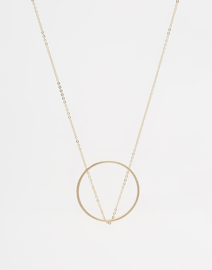 Asos Thread Through Chain Open Circle Long Pendant