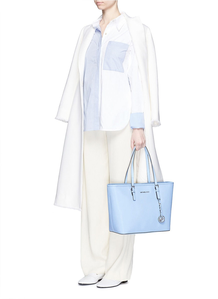 707d2ab7f826 Michael Kors 'jet Set Travel' Saffiano Leather Top Zip Tote in Blue ...