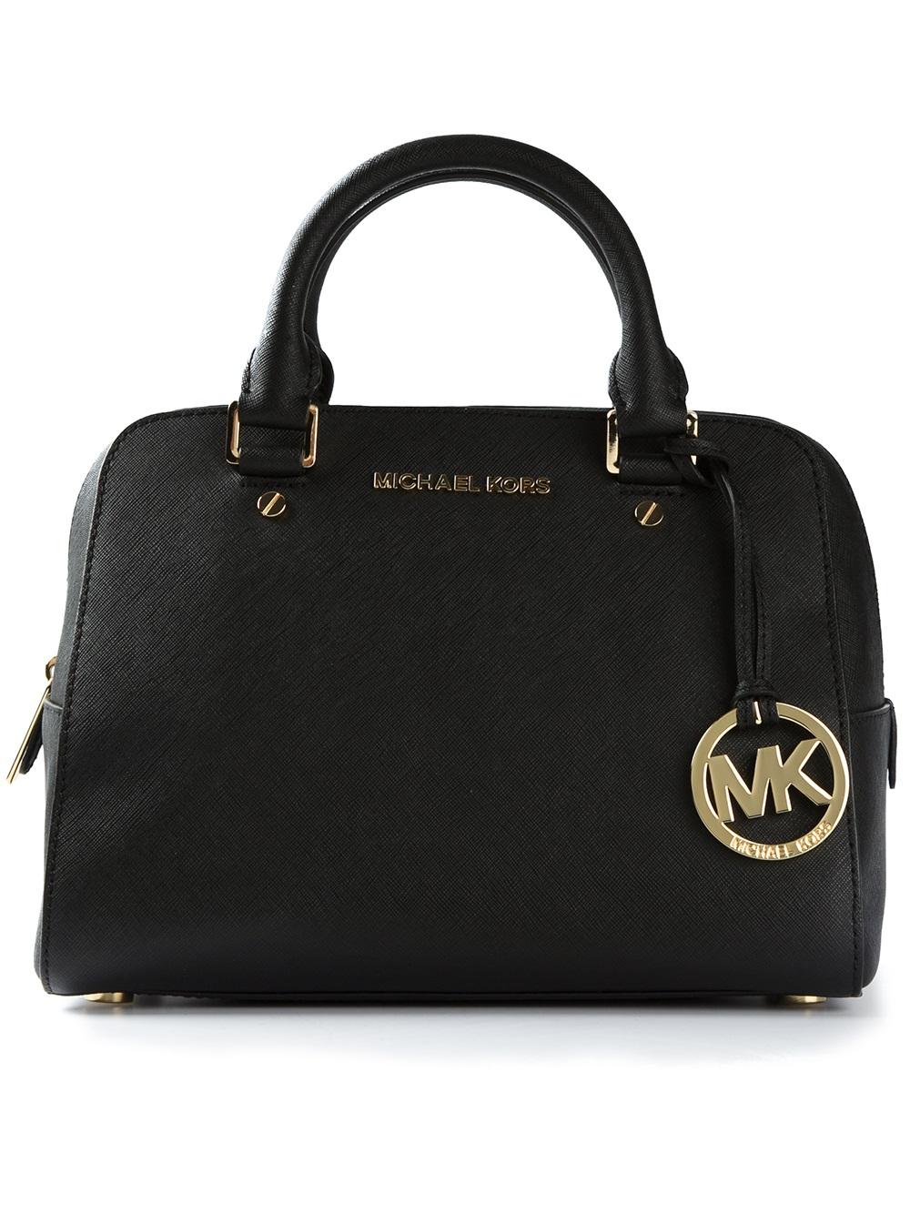 Lyst Michael Michael Kors Logo Fob Bowling Bag In Black
