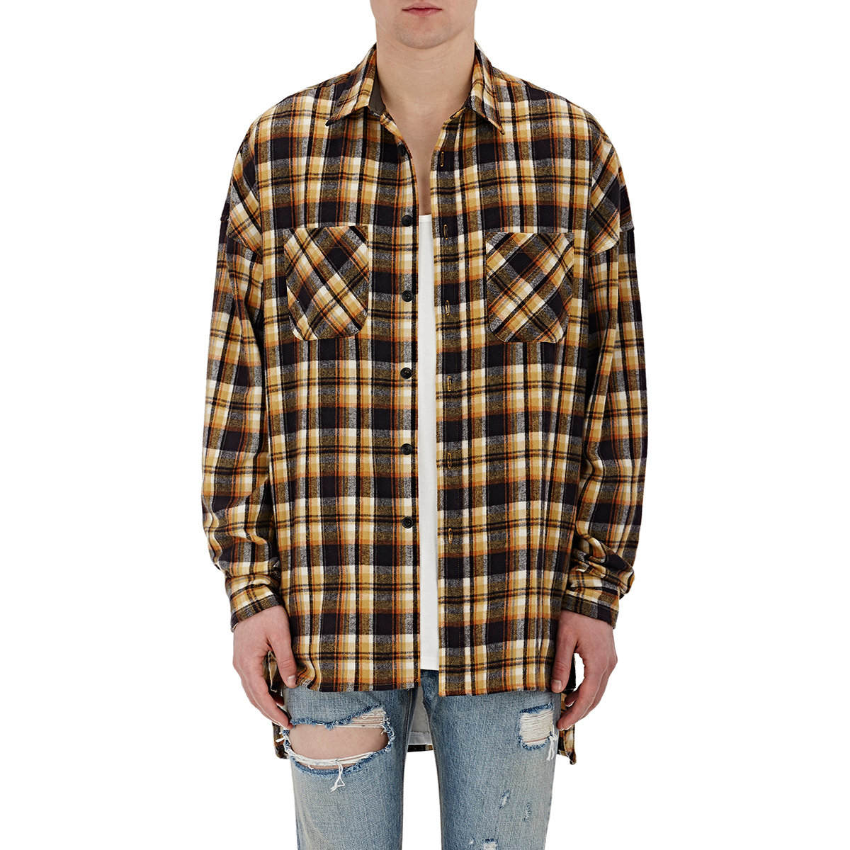 Fear of god plaid flannel shirt in yellow for men lyst for Brown and black plaid shirt