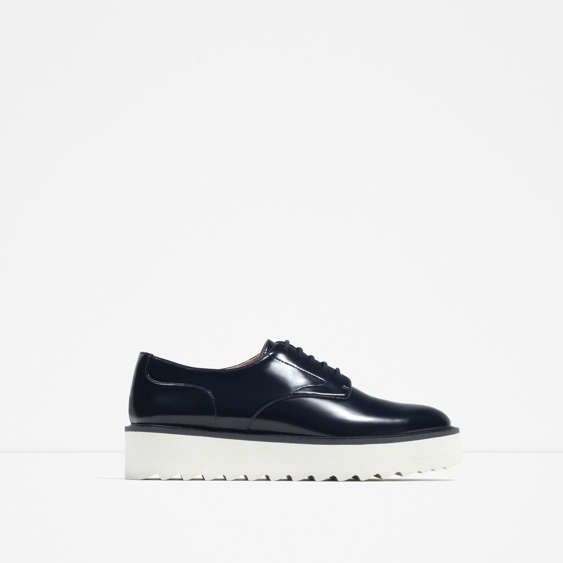 Zara Platform Bluchers In Blue Lyst