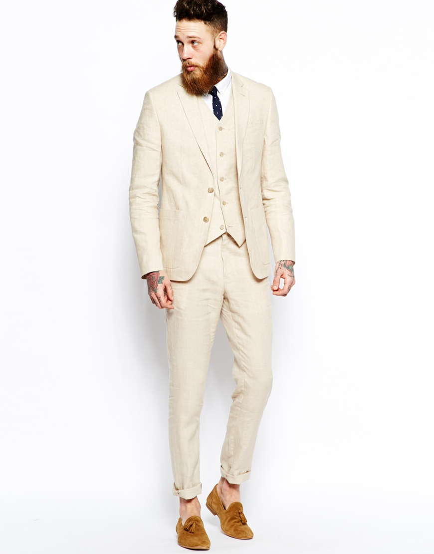 Asos Slim Fit Suit Trousers In 100% Linen in Natural for Men | Lyst