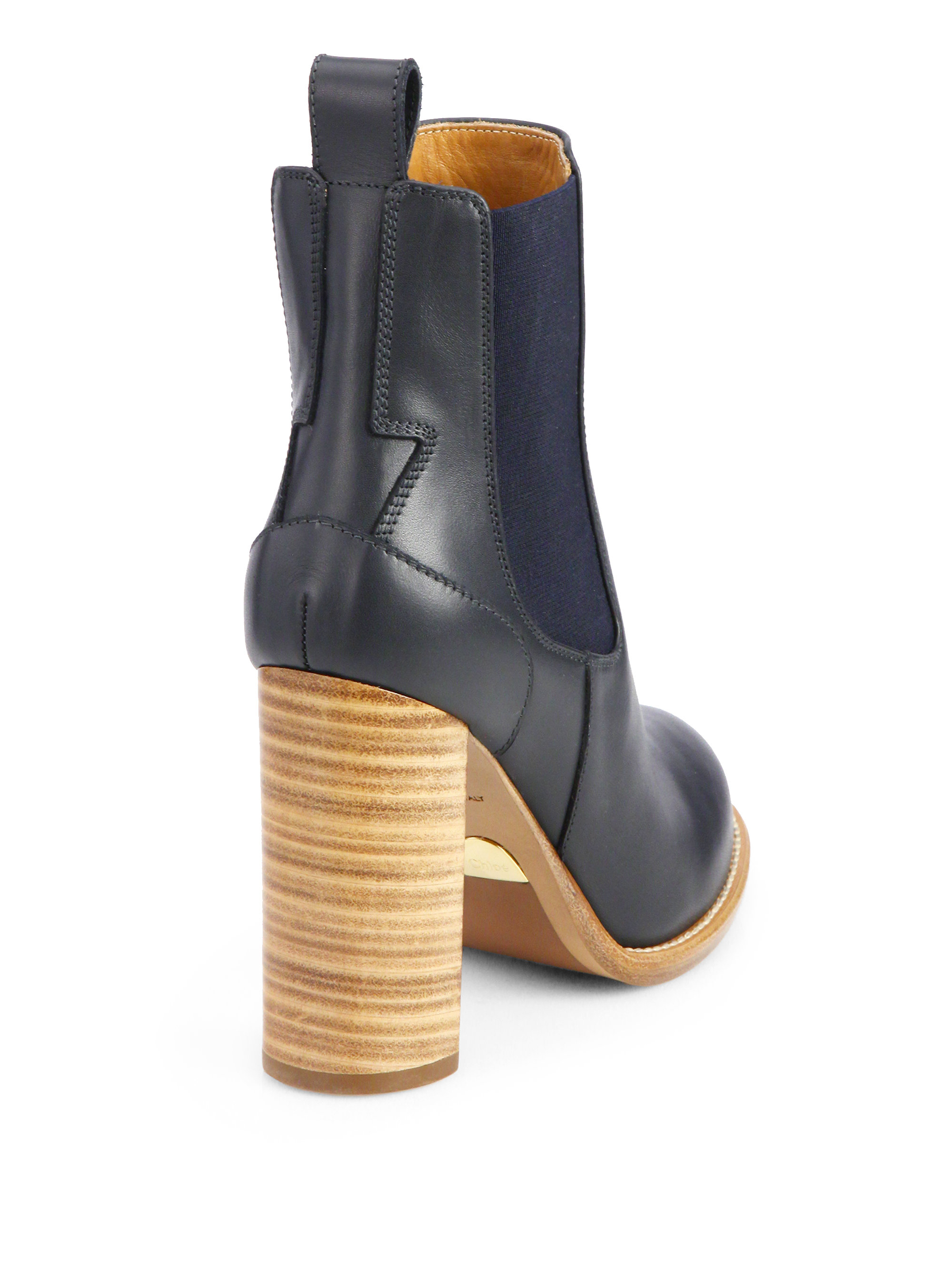 Chloé Leather Ankle Boots in Blue | Lyst