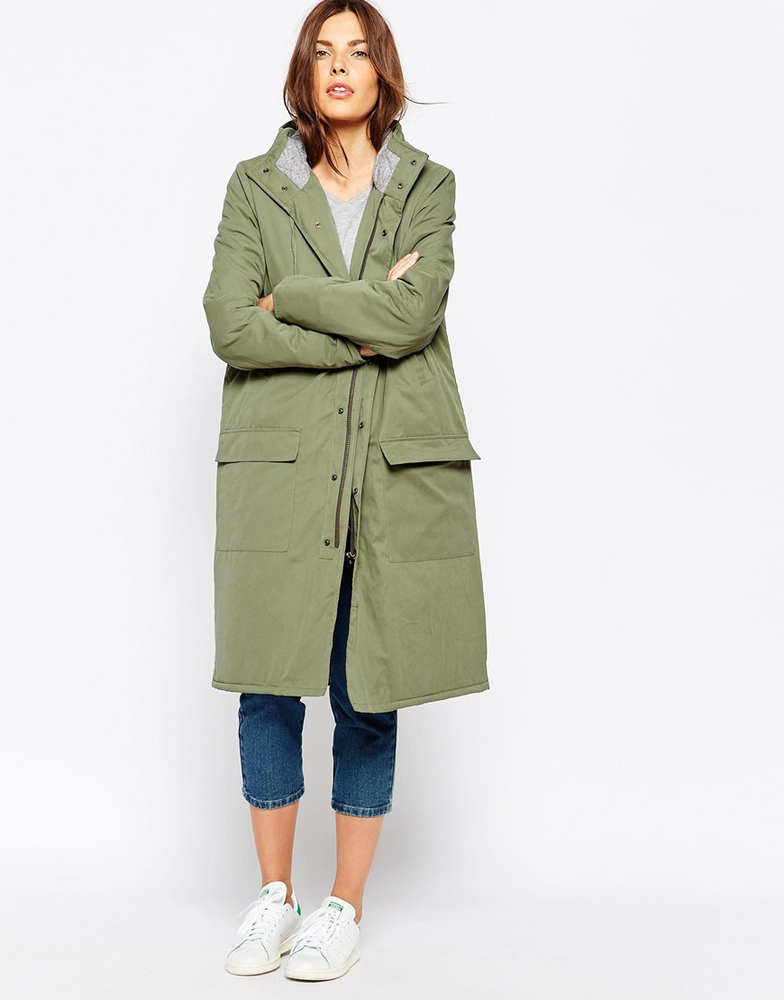 Lyst - Ganni Long Zip Front Parka in Green 46310ad016f1