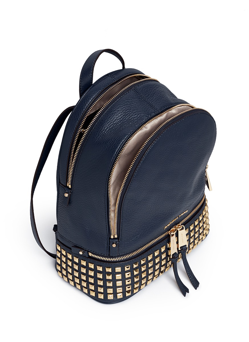 3c7eb4f66fe34 ... cheap lyst michael kors rhea small stud leather backpack in blue 6f979  b4fda