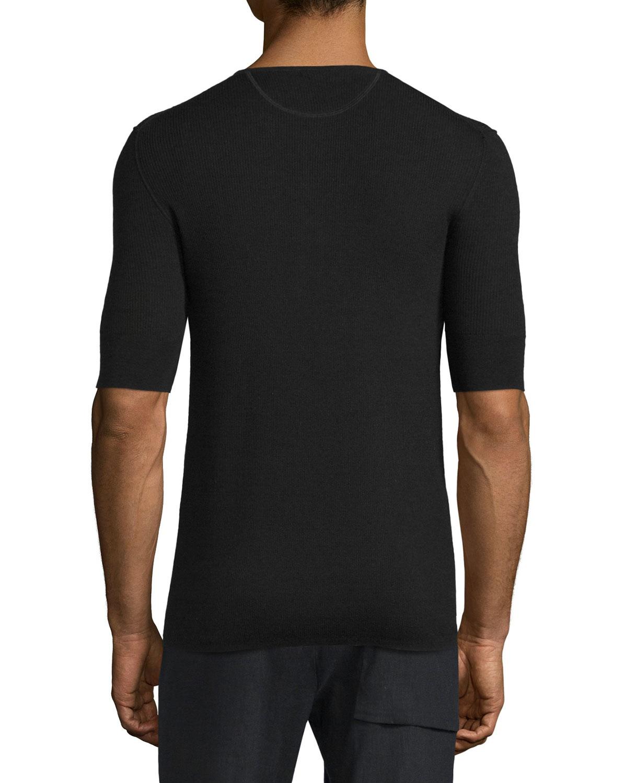 Vince Ribbed Short-sleeve Wool-silk Henley Shirt in Black for Men ...